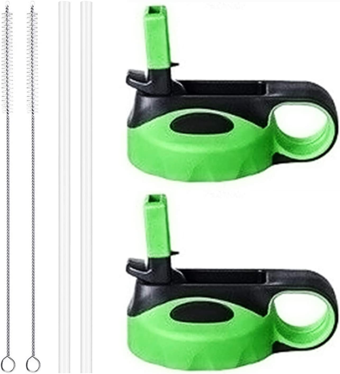Flgoo Straw Lid for Wide Mouth Water Bottle with Straws and Brush 2 Pack