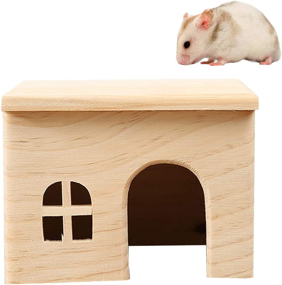 Hamster Wooden House Small Animals Hideout Home for Rat Mice Gerbil Mouse Rabbit Cage Play Hut