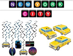 New York City Subway Party Décor Bundle | Includes Taxi Centerpiece, Subway Streamer, and New York Whirls