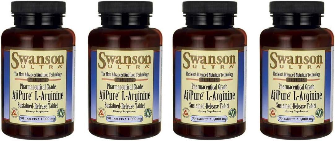 Swanson Ajipure L-Arginine Sustained-Release Tablet 1,000 mg 90 Tabs 4 Pack