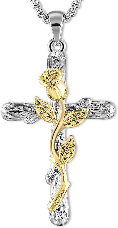 Cross Pendant Necklace Rose...