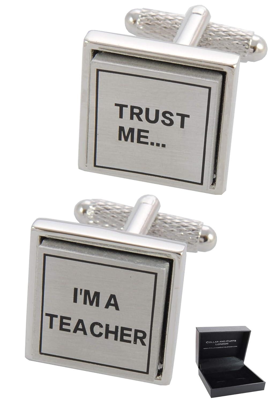 Trust Me Im a Teacher Boutons de Manchette avec Boite-Cadeau Grand Qualit/é Laiton Couleur Argent COLLAR AND CUFFS LONDON /École Universit/é /Éducation Prof