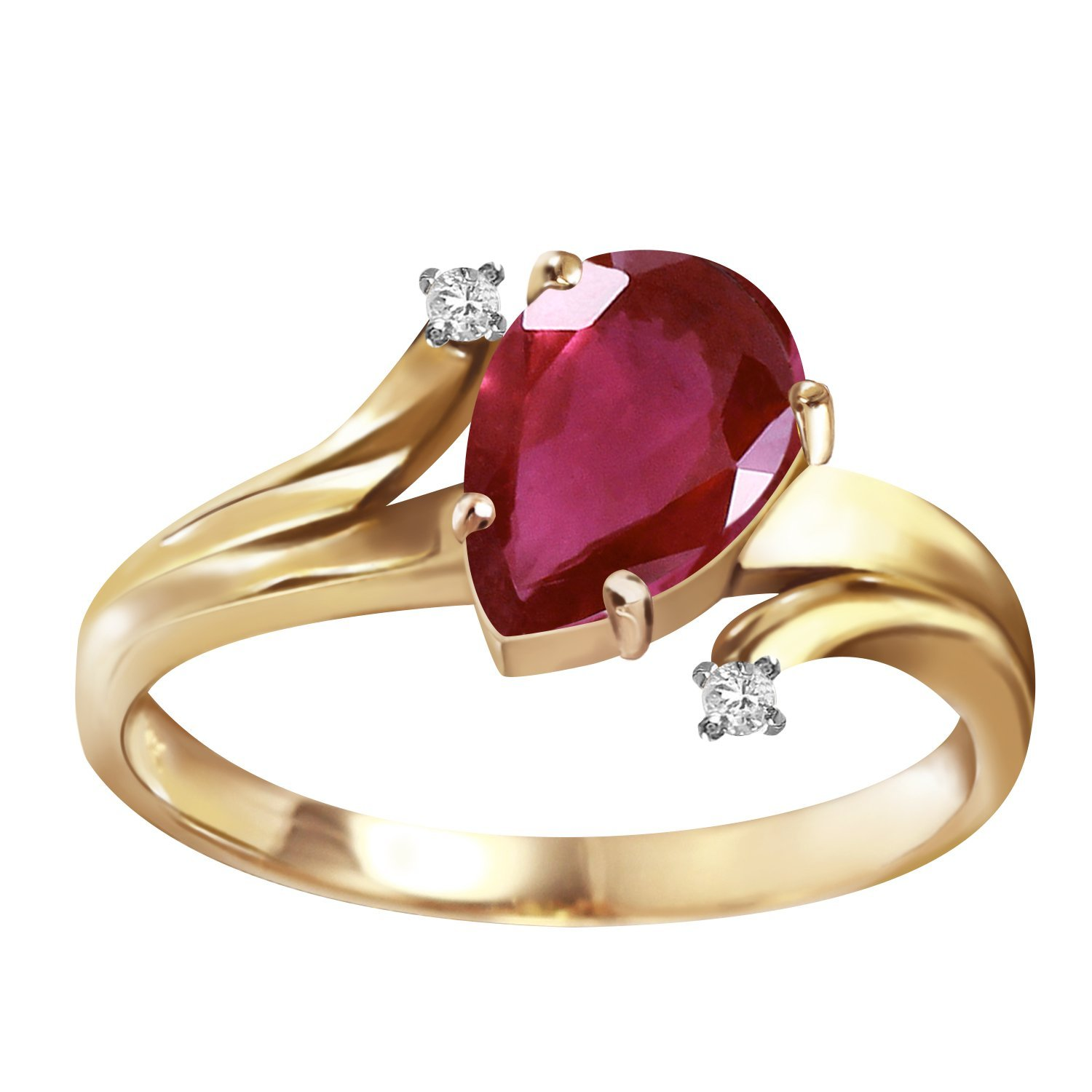 1.51 Carat 14k Solid Gold Ring with Genuine Diamonds and Natural Pear-shaped Ruby - Size 7.5
