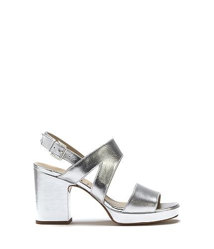 DRIEVHOLT Damen Damen Trend Sandalette Aus Leder, Riemchen Sandale in Silber  mit Blockabsatz Silber Leder 0597b8d723