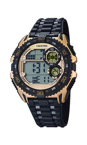 Calypso Hombre Reloj Digital con Pantalla LCD Pantalla Digital Dial y Correa de plástico en Color Negro K5670/2: Amazon.es: Relojes