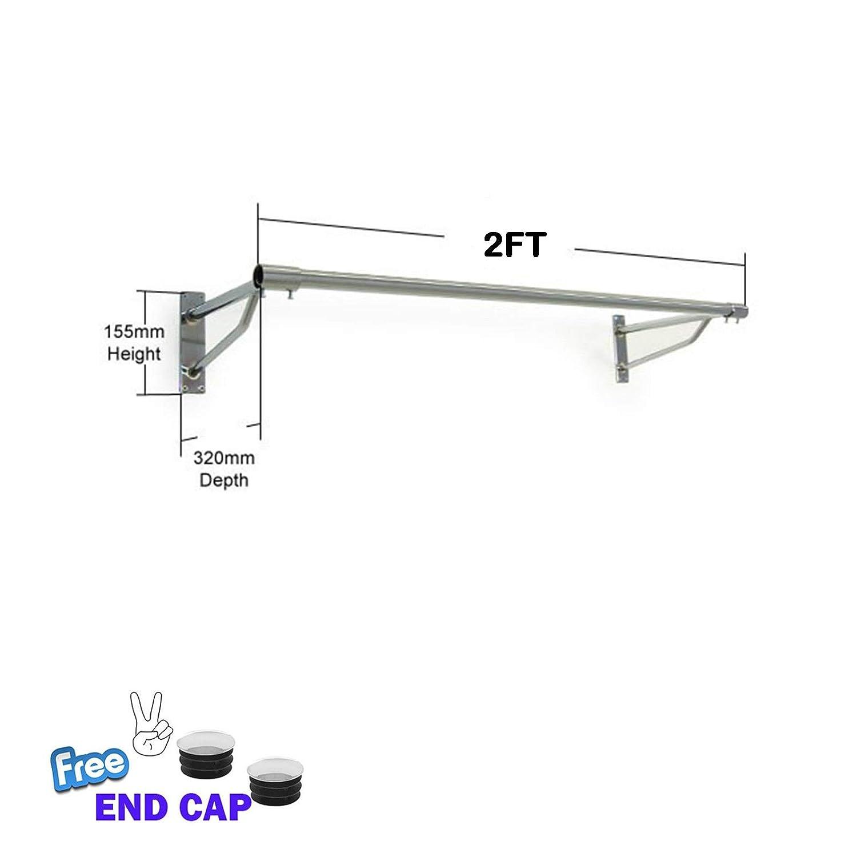 1.2m Tube+2 Brackets Complete Retail Source ltd 2ft Perchero de Pared 32 mm