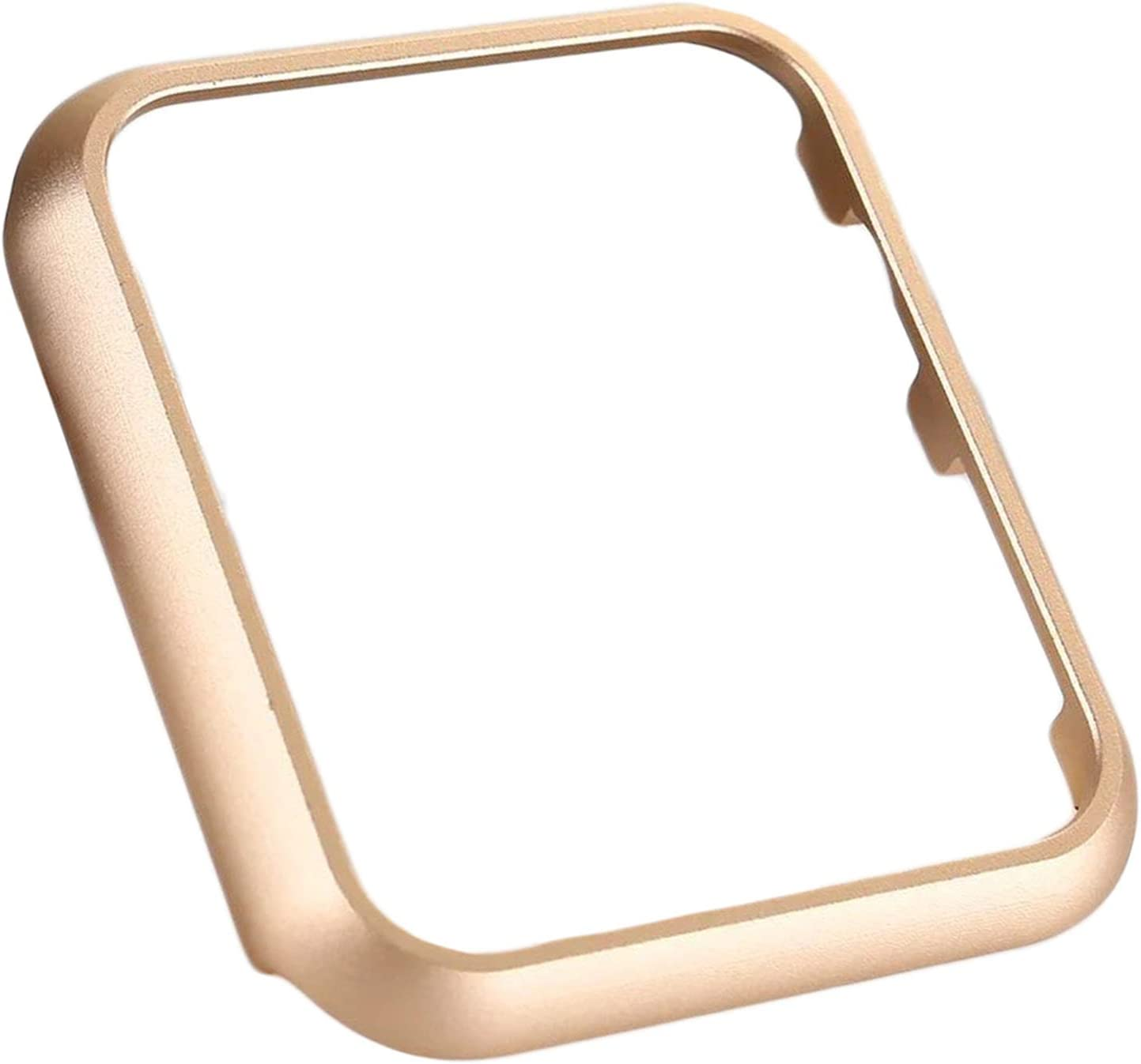 UNIYA Case Compatible with Apple Watch 38mm 42mm, Aluminum Alloy Frame Strap Bumper for iWatch Cover Series 3/2/1 Protective Shell (42 mm, Gold)