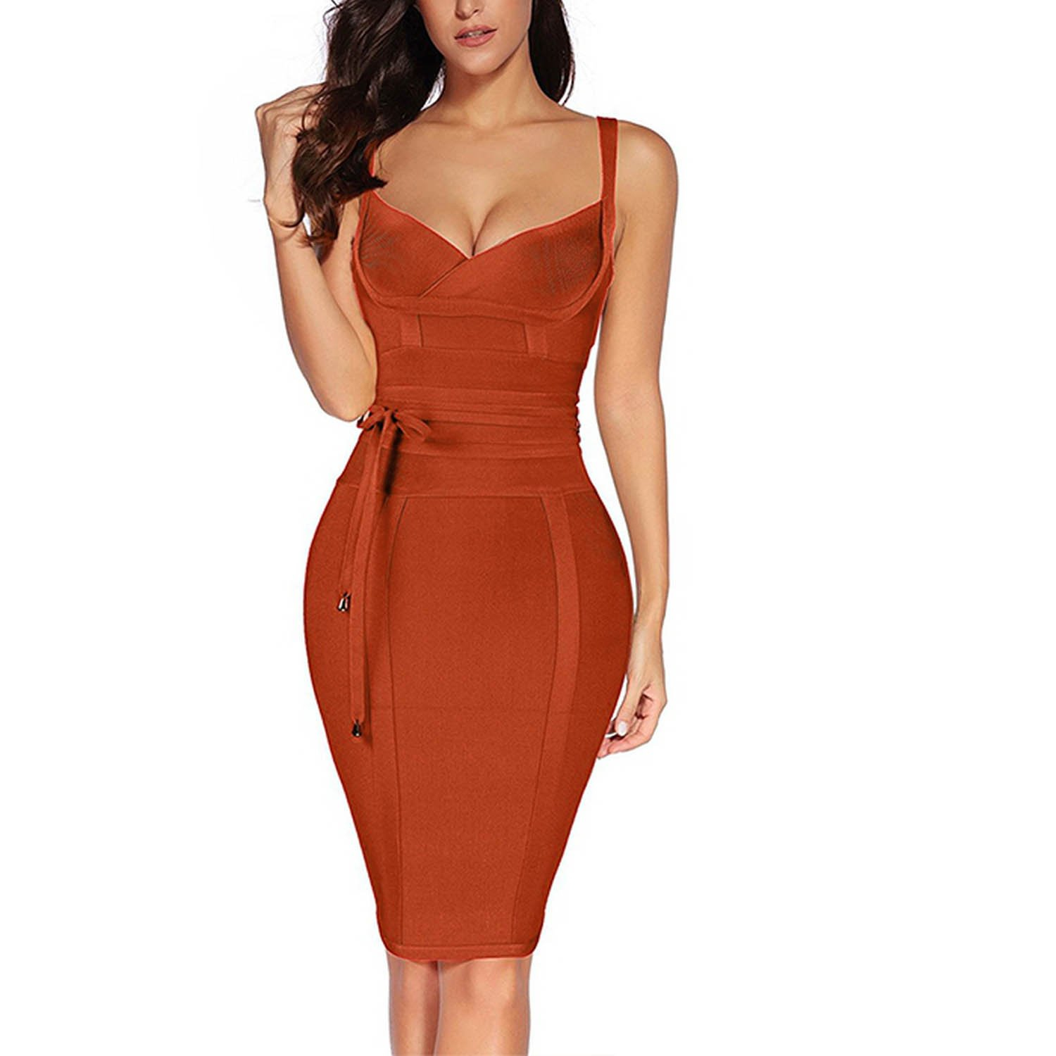 UNIQUE SHOP Women Bandage Dress 2017 Rayon Sleeveless Summer New Arrivals Sexy Deep v Neck Vestido Bodycon Ban at Amazon Womens Clothing store: