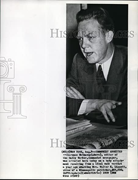 Amazon.com: 1939 Wire Photo Clarence Hathaway, editor of the Daly ...