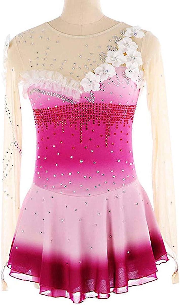 女の子のためのスケートドレス、女性ピンクのロングスリーブドレススケートラインストーンアップリケのための手作りのフィギュアスケート競技コスチューム ピンク Child14