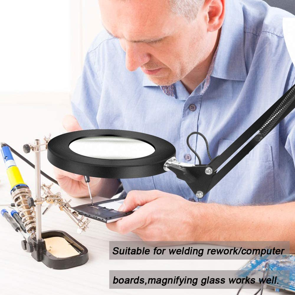 3 Color Modes Stepless Dimming Daylight,Adjustable Swivel Arm Magnifier Lamp with clamp for Reading Rework Craft Or Workbench-2.25X LED Magnifying Lamp