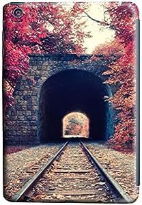 iPad mini Case Cover,Autumn Train Tunnel 3D Hard Shell Case for iPad Mini