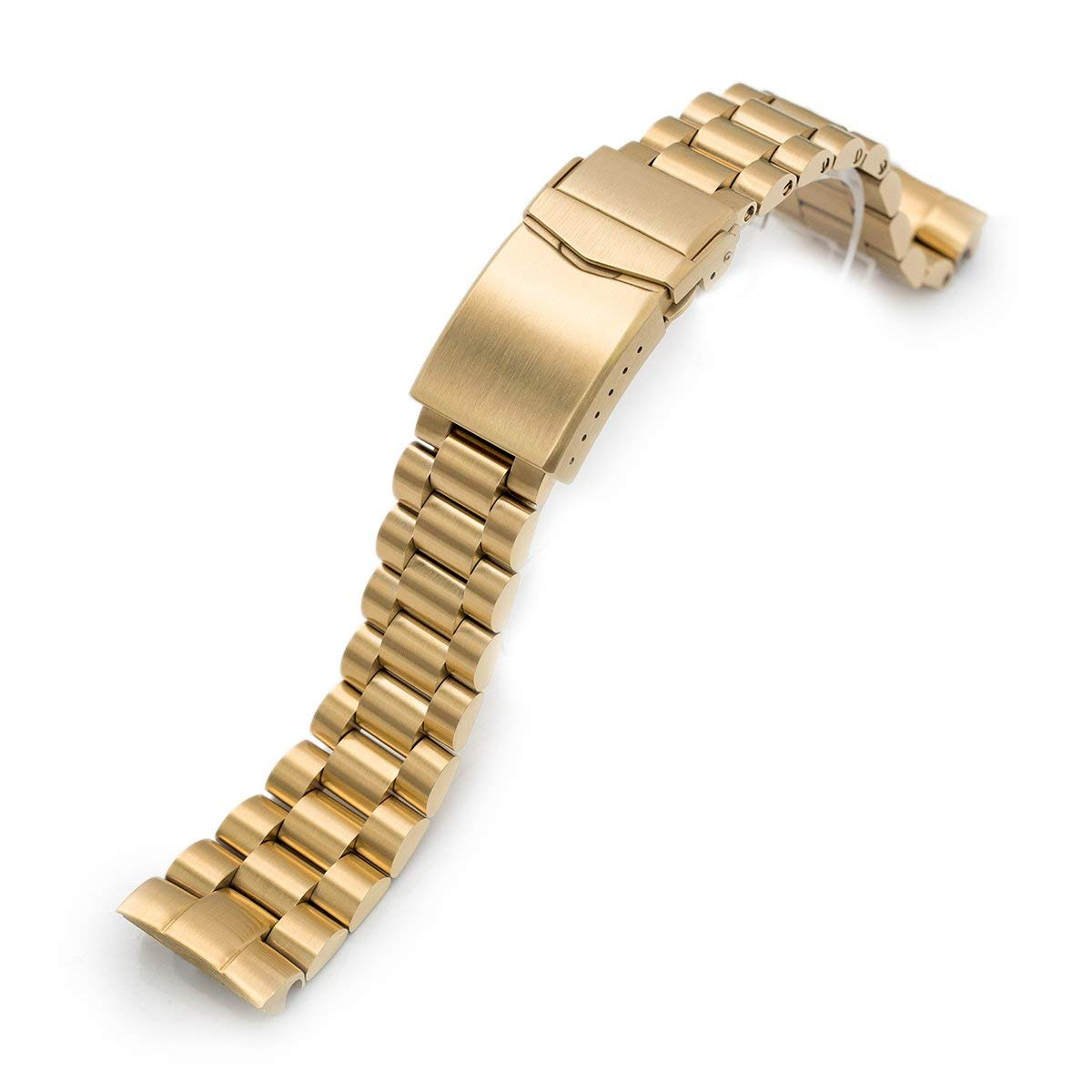 22mm Endmill 316L SS Watch Bracelet for Seiko New Turtles SRP777, V-Clasp Full IP Gold