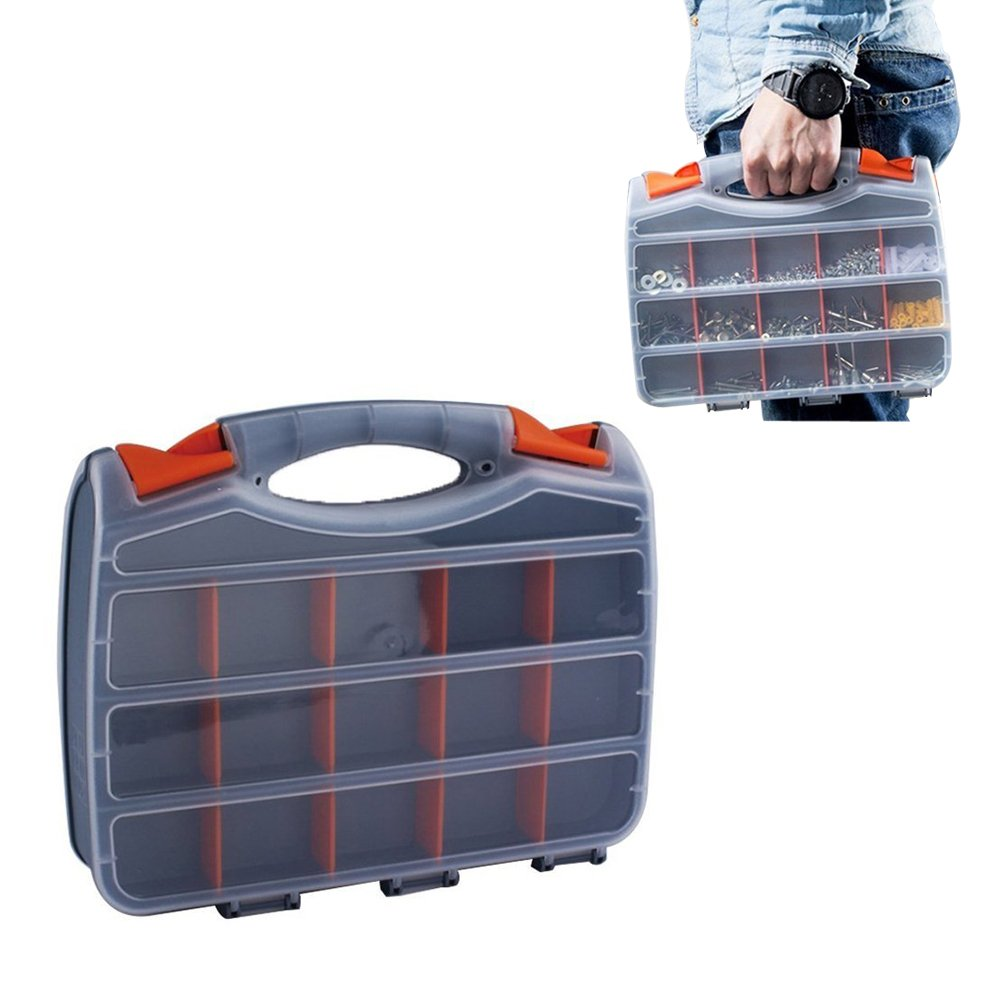 FEOOWV Duty Double Sided Plastic Storage Box Tool Organizer Gear Boxes Toolbox