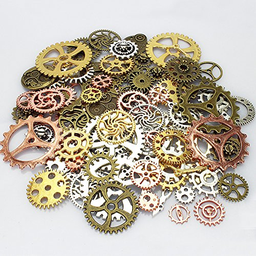 LolliBeads 190 Gram Antiqued Metal Skeleton Steampunk Watch Gear Cog Wheel Sets, Silver/Copper/Bronze/Gold Mixed Color (100 Pcs)