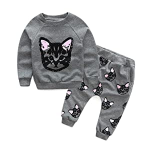 XILALU Baby girls Kids Clothes Set Long Sleeve cute Cats Print Tracksuit +Pants Outfits (5Y)