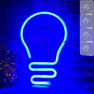VIFULIN Bulb Neon Light Sign for Bedroom Aesthetic Neon Light for Wall Decor Bulb Shape LED Light Night with 4 Hooks USB/Battery Powered LED Sign Bulb Neon Lamp for Christmas Decor Teen Girls(Blue)