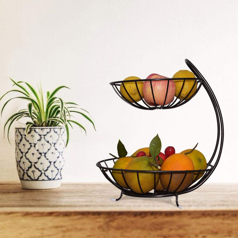 Black 2-Tier Server winnerruby Countertop Fruit Basket Bowl