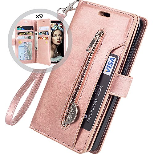 Galaxy S9 Plus Wallet Case for Women/Men,Auker Trifold 9 Card Holder Kickstand Feature Folio Flip Book Leather Zipper Wallet Magnetic Purse Cover with Strap&Money Pocket for Samsung S9 Plus (RoseGold)