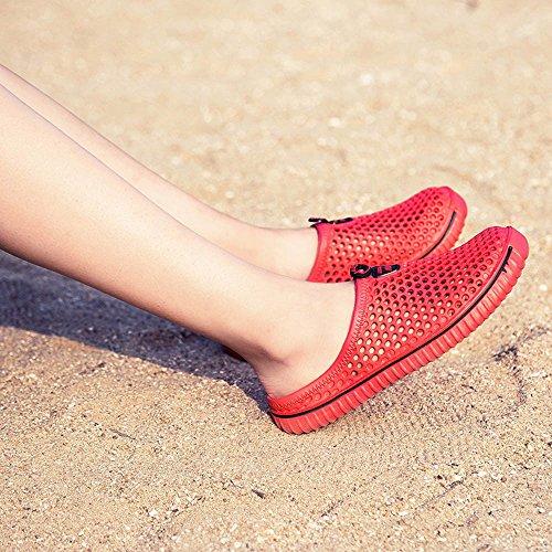 Mules Plage Sunenjoy Et Sabots Rouge Unisexe Flops de Pantoufles Pantoufles Été Chaussons Chaussures Hommes Flip Amants Respirant Femmes Sport Chaussures Sandales Piscine Jardin ErB7qr