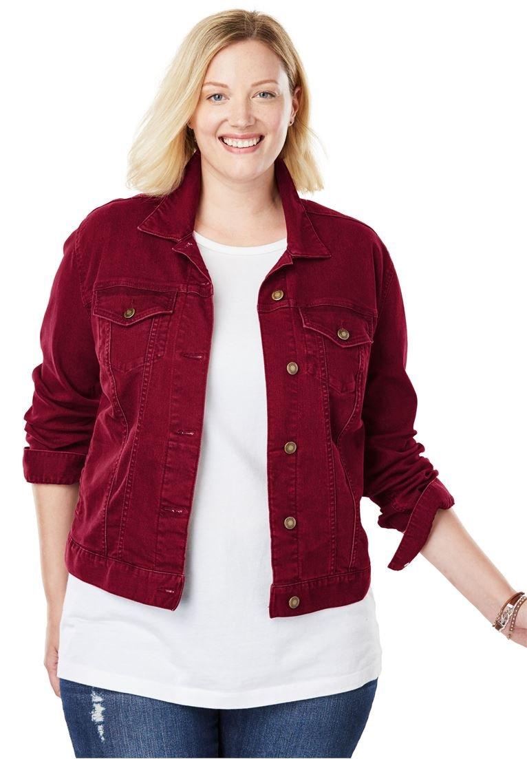 Women's Plus Size Stretch Denim Jacket Rich Burgundy,16 W