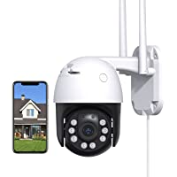 Security Camera Outdoor with 1080P Color Night Vision, 360° View, Motion Tracking, Instant Alerts, IP66 Weatherproof…