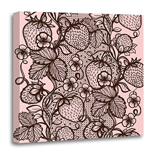 - Semtomn Canvas Wall Art Print Abstract Lace Pattern Flowers Leaves and Strawberry Infinitely Garment Artwork for Home Decor 20 x 20 Inches
