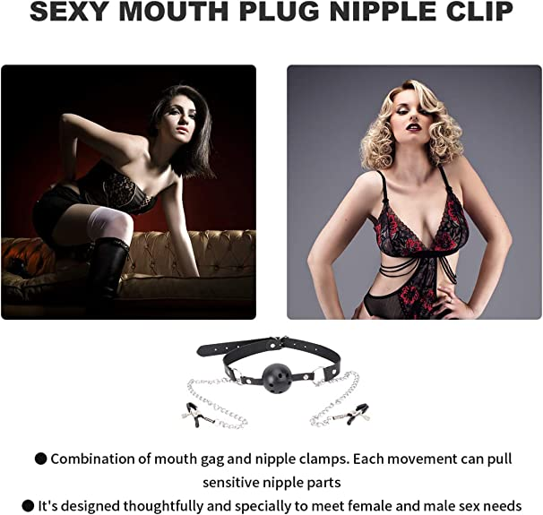 EXCEART 1 Pcs Nipple Clamps with Chain Non-Piercing Nipple Clamp Flirting Toy for Adults Lovers Couples