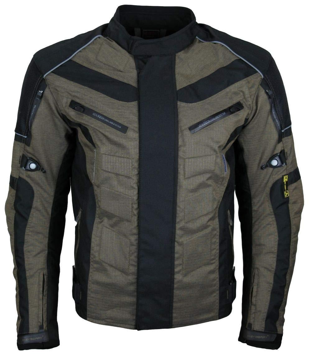 XL HEYBERRY Kurze Textil Motorrad Jacke Motorradjacke Antique Olive Gr