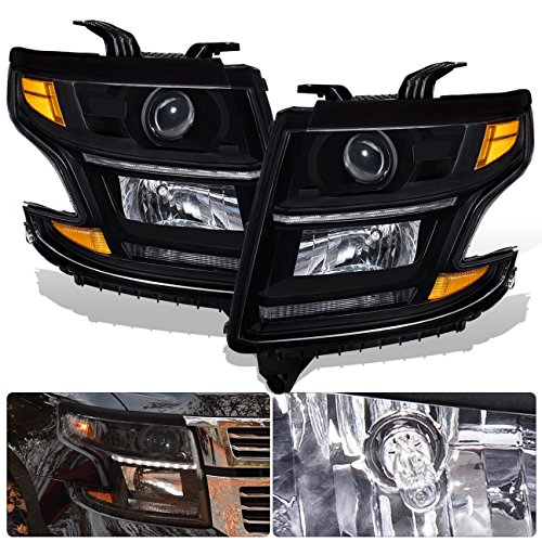 For 15-17 Chevy Chevrolet Suburban Tahoe Front Bumper Headlight Head Lamp Black Housing Clear Lens Amber Reflector LED Daytime Running Light DRL Upgrade Assembly Pair Left Right ()