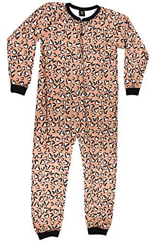 Just Love Printed Flannel Blanket Sleepers Leopard Heart Girls' 10-12