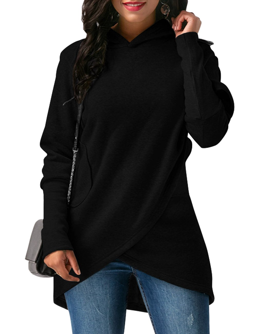 WAJAT Casual Hoodie For Women, Women's Short Overall Asymmetric Hem Solid Color Christmas Coat Black Small