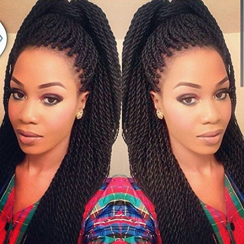 [Refined 7Packs 18Inch 30Stands/Pack Senegalese Twist Crochet Braids 16 Colors Avaliable for Black Women High Temperature Fiber Synthetic Braiding Hair Extensions(1B)] (Twist Pack)