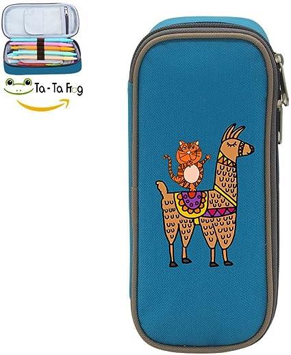Estuche de Llama y Dancing Tiger de doble uso, gran capacidad, impresión 3D: Amazon.es: Oficina y papelería