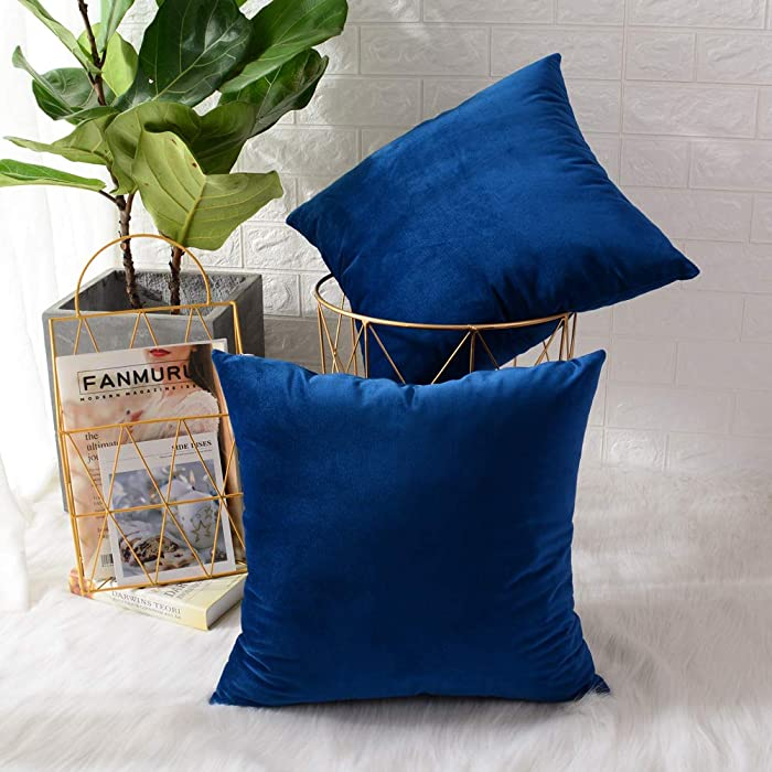 MERNETTE Pack of 2, Velvet Soft Decorative Square Throw Pillow Cover Cushion Covers Pillow case, Home Decor Decorations for Sofa Couch Bed Chair 18x18 Inch/45x45 cm (Sapphire Blue)