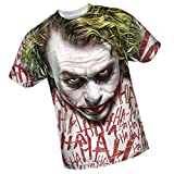 Joker Face -- The Dark Knight All-Over Front Print Sports Fabric T-Shirt, XXX-Large