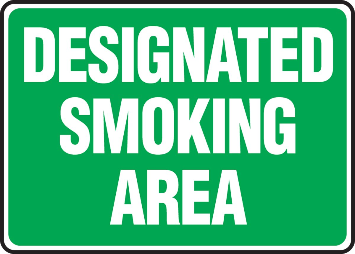 AccuformDesignated Smoking Area Safety Sign MSMK590XL Aluma-Lite 10 x 14 Inches
