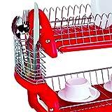 Home Basics Dish Plastic Drainer, 2-Tier, Red