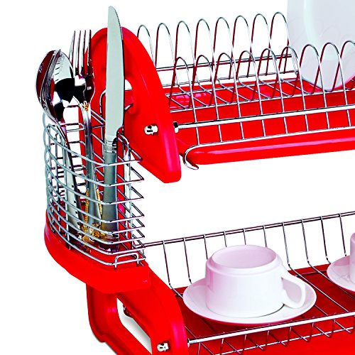 Home Basics DD10248 2-Tier Dish Plastic Drainer, 17.5in x 10.5in x 7in, Red - smallkitchenideas.us