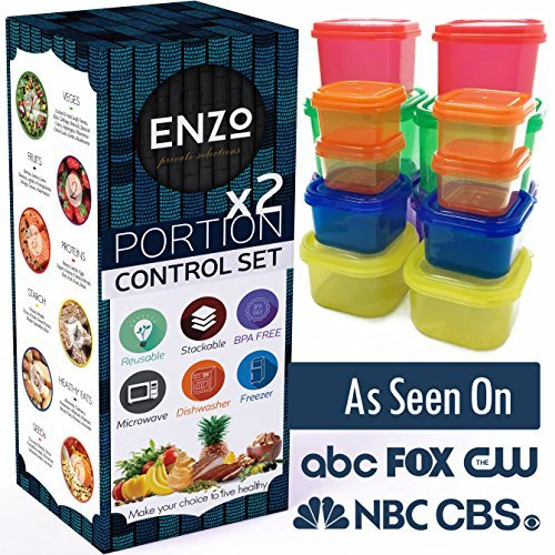 Portion Control Containers 2 Set (14 Pieces) - For Weight Loss and Diet Programs with Lids perfect for measuring food for your 21 Day Diet Plan and Healthy Fitness Meal Prep Lifestyle by Enzo's Private Selections
