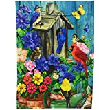 Summer Seasonal Songbird Garden Flag Double Sided Polyester Yard Decoration; Colorful Blue Birds, Cardinal, Goldfinch, Flowers and Butterflies; 12 x 18 inches
