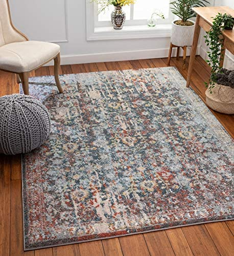 Well Woven Rella Blue Vintage Bohemian Floral Area Rug 8×10 7 10 x 10 6