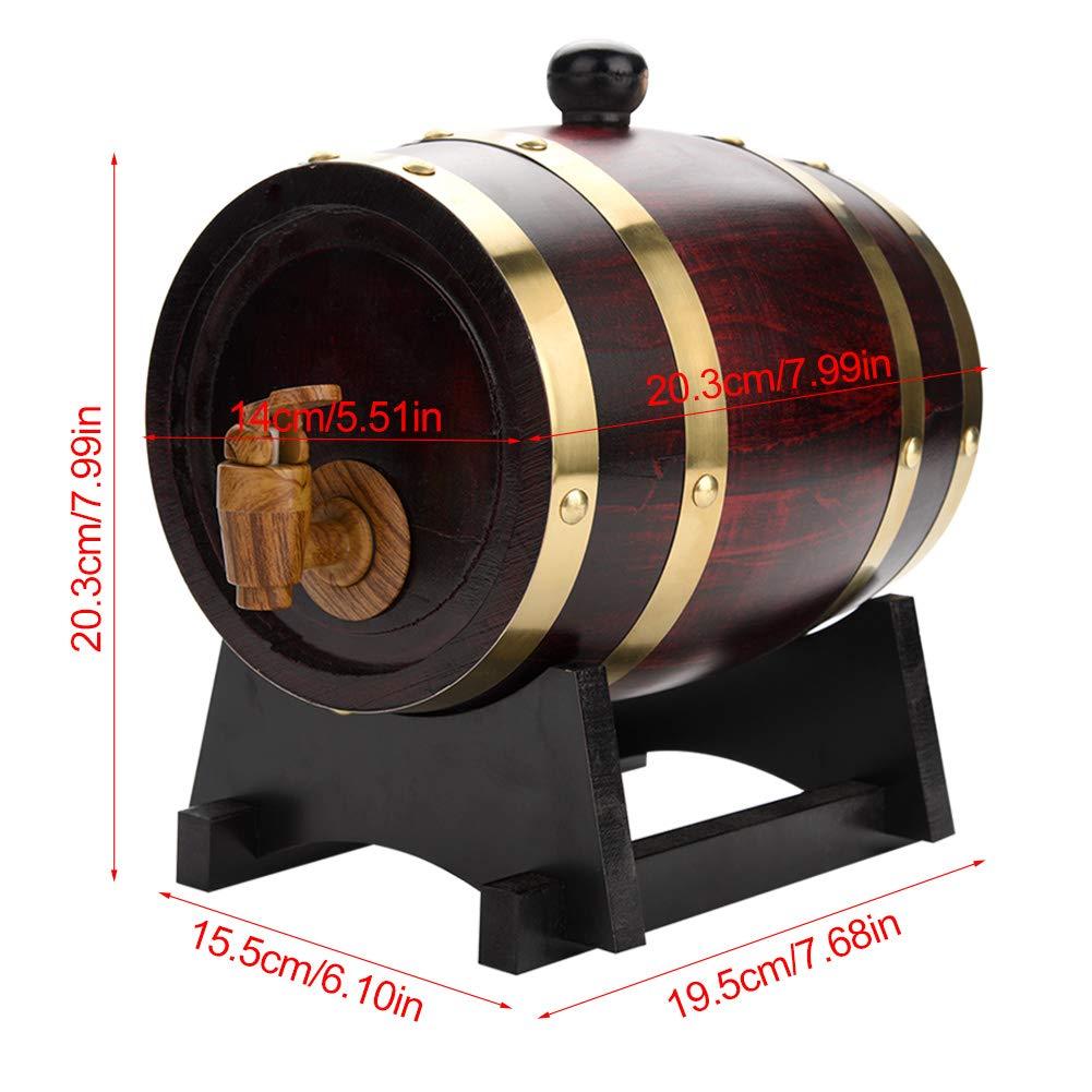 1.5L Oak Barrel, Whiskey Wood Oak Barrel Dispenser Pressure Tested for Leaks Storage for Whiskey, Brandy, Tequila, Rum Port by Zerone (Image #3)