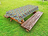 Lunarable Car Outdoor Tablecloth, Buses and Trucks Colorful Boyhood Themed Cartoon Style Commuting Transportation Design, Decorative Washable Picnic Table Cloth, 58 X 84 inches, Multicolor