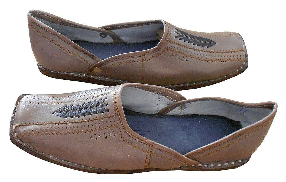 kalra Creations Hombre tradicional hecho a mano indio étnico–Zapatos de piel, color Gris, talla 41.5 EU