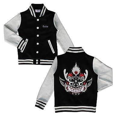 Boys Baseball Jacket Coat, Custom Jacket For Kids, Black and White, L