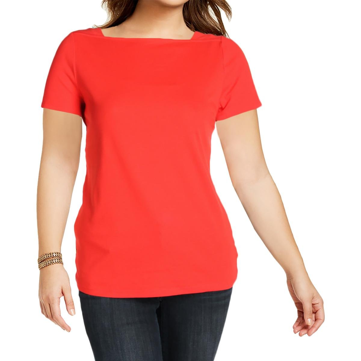 Lauren Ralph Lauren Womens Plus Boat Neck Embellished T-Shirt Red 1X