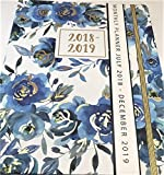 Tri-coastal Design Whimsical Blue/Gold Floral WEEKLY MONTHLY PLANNER Motivational Dividers/Stickers, Jul 2018 - Dec 2019