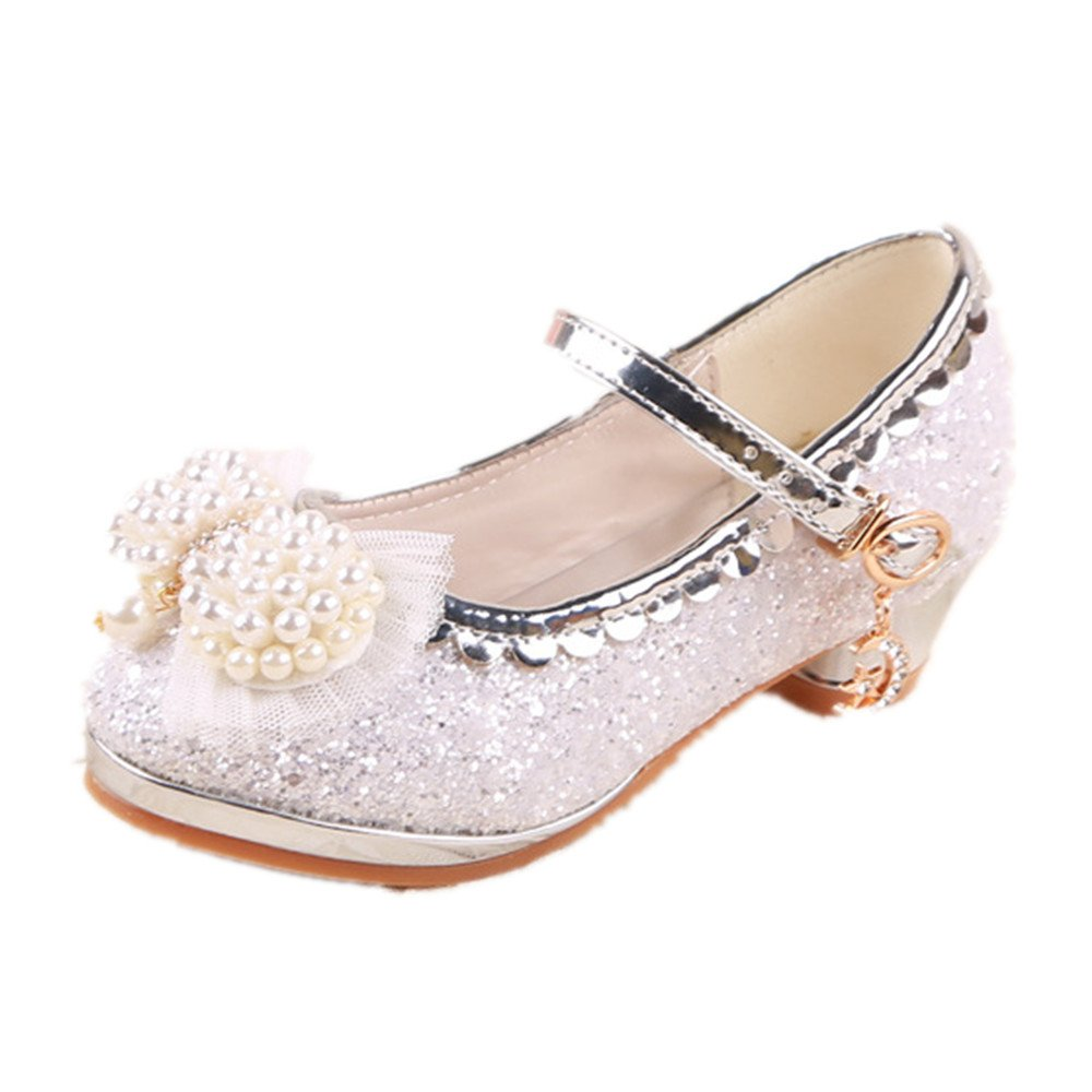 Kids Girls Mary Jane Wedding Party Shoes Glitter Bridesmaids Low Heels Princess Dress Shoes(silver 31/13 M US Little Kid)