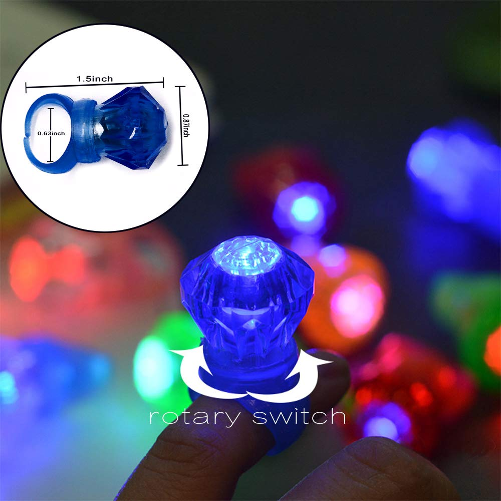 FYT 60 PCS LED Light Up Toys Glow In The Dark Party Supplies,Party Favors For Kids、Parents、Friends,With 40 LED Finger Lights+10 LED Lighted Rings+ 5 Bracelets+ 5 Flashing Slotted Shades Glasses by FYT (Image #3)